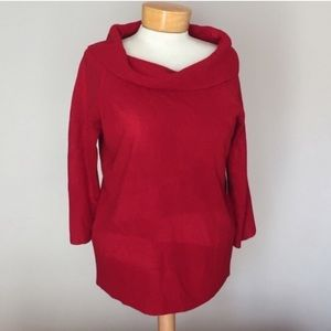 Red cowl neck knit top by D. Morgan. Size large